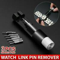 Metal Adjustable Watch Band Bracelet Repair Tool Link Pin Remover + 3 Pins Kit