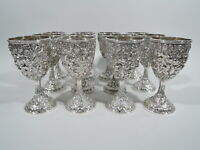 Antique Goblets - Set of 12 Baltimore Style Repousse - American Sterling Silver