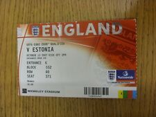 13/10/2007 Ticket: England v Estonia [At Wembley] (creased, folded). Unless prev