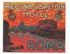 1920s Luggage Label from the Regina Carlton Hotel in Rome Italy