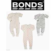 BONDS BABY COTTON WONDERSUIT ZIP JUMPSUIT PINK WHITE PYJAMAS 0000 000 00 0 1 2