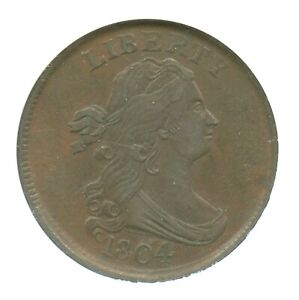 1804 Crosslet 4, Stemless Draped Bust Half Cent, NGC XF45