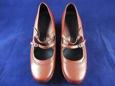 Dansko Women's Red Leather Double Strap Mary Janes Heels Sz US 8 EU 38 EUC