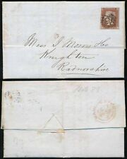 GB QV 1852 PENNY RED on PRINTED LETTERHEAD ALLEN MOORE FUSTIAN + CALICO to WALES