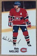 1988-89 MATS NASLUND ESSO MINI STICKER CARD MONTREAL CANADIENS