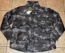 Mens BLACK CAMO JACKET~size LARGE~NWT~LINED Gray Camouflage COAT