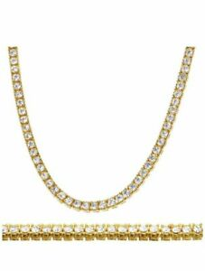 Gold Plated 3mm & 4mm 1 Row Simulated Diamonds Brass Tennis Chain & Bracelet