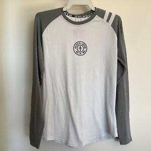 Gold's Gym  Logo Long Sleeve Activewear Top Grey Size M Official Raglan Sleeve