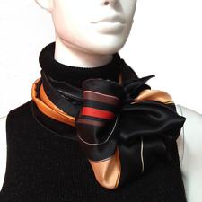 Pañuelo 100 Seda Negro Rojo Hecho Mano Orquídeas Fereti Foulard Flores Italia L