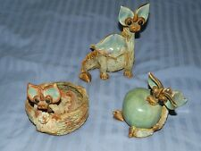 Lovely Yare Dragons set of 3 pieces Studio Pottery Dragon Sue Turner