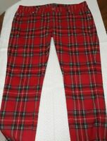 Tripp NYC Womens Red Plaid Pants Size 9 - Skull, Tartan, Goth, Punk, Emo, Rock
