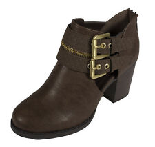 DECKER! Women's Expose Double Buckle Strap Ankle Bootie Brown Leatherette