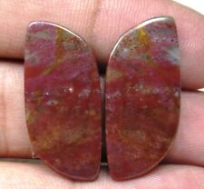 NATURAL BLOOD STONE CABOCHON FANCY SHAPE PAIR 25 CTS LOOSE GEMSTONE D 5835
