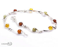 NATURAL BALTIC AMBER Gemstone Jewellery STERLING SILVER 925 BRACELET Certified