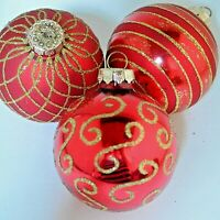 "3 Vintage Rauch Red & Gold Glitter Blown Glass Ornaments Elegant 2.75"" USA"