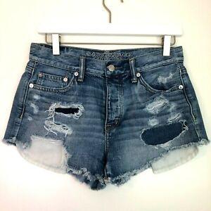 American eagle vintage hi-rise festival shorts size 4 distressed medium wash