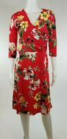 New Wrap Dress Red Floral 3/4 Sleeve Womens US Size Medium M Large L XL