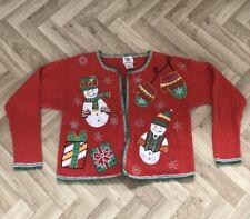 Rare vintage red Xmas Christmas cardigan with snowmen - Small