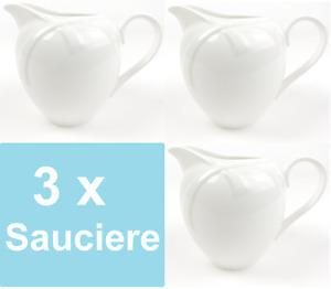 3x Sauciere Weiß Porzellan Soßen Kanne Behälter Milch Kännchen Soßiere