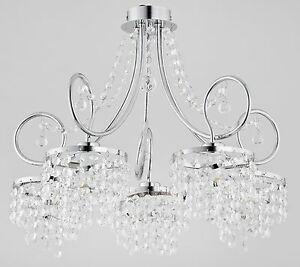 Crystals 5 arm Luxury Chandelier Modern Apartment Light Hallway Dining Diana New