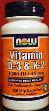 Now Foods Vitamin D3 & K2 1,000 IU/45 mcg 120 Vcaps Osteoporosis & Heart Health