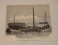 1887 magazine engraving ~ A CHINESE JUNK