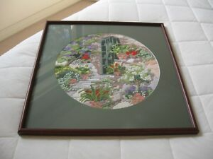 Hand Made Cross stitch Garden scene Beautiful Framed  in a Brown & Green Frame