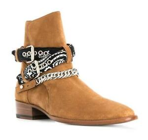 Mens Suede Pointed Toe Buckle Pull on Chelsea Ankle Boots Combat Knight Shoes SZ