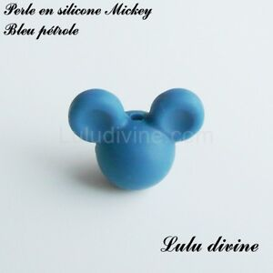 Perle en silicone ronde Mickey, silicone alimentaire : Bleu pétrole