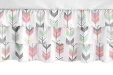 Coral Mint and Grey Mod Arrow Woodland Ruffled Tiered Bab 00006000 y Ruffle Crib Bed Skirt