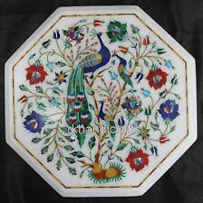 15 Inches White Marble Corner Table Center Table Top Floral & Peacock Design