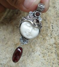 925 Solid Silver-Balinese GODDESS Face Pendant With Garnet -IL-149 NEW