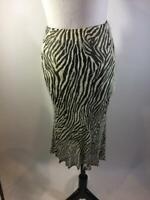 Carmen Marc Valvo White Black Zebra Beaded Silk Skirt Size 8