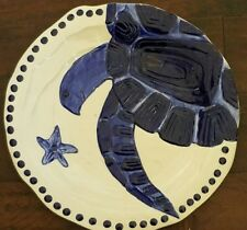 "New Blue Sky Ceramic Clayworks Magic Sea Blue Turtle 14"" Round Serving Platter"