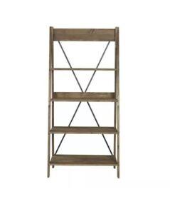 "68"" Solid Wood Ladder Bookshelf - Brown"