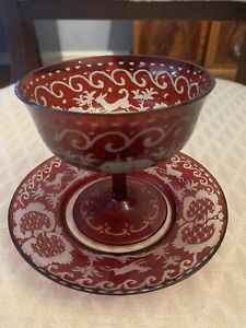 ANTIQUE 2 PIECE BOHEMIAN RED CUT TO CLEAR STAG ENGRAVED GLASS COMPOTE AND DISH