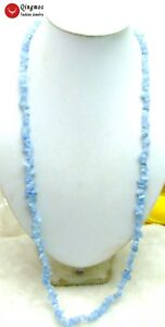 """Blue 7-8mm Baroque Natural Aquamarine Beads 33"""" Long Necklace for Women 5681"""
