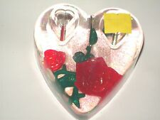 ROSE OF HEARTS SNOW GLOBE acrylic paper weight/pen holder-RED ROSE/ HEART