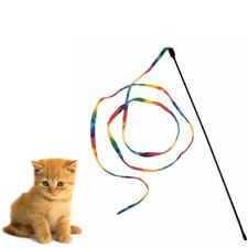 Hot Chic Rainbow Cloth Stripe Tease Cats Rod Teaser Funny Playing Pet Cat Toys
