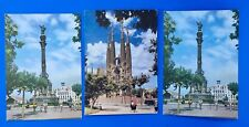 VINTAGE POSTCARDS OF BARCELONA-Columbus Monument-Temple of Holy Family-Lot of 3