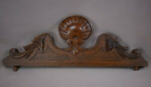 Antique French Hand Carved Walnut Wood Shell Ornate Pediment Crest Cornice