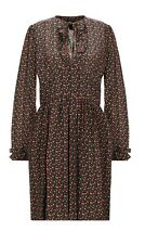 A.P.C. Silk Crepe de Chine Long Sleeve Floral Print Dress. FR 42/UK 14. AW18