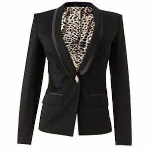 Roberto Cavalli x Target - Tuxedo Jacket Blazer - Black/Leopard - Womens Size 12