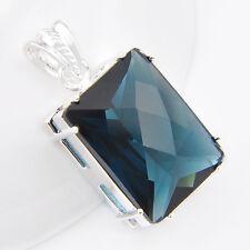 Royal Style Fashion Shiny London Blue Topaz Gems Silver Woman Necklaces Pendant