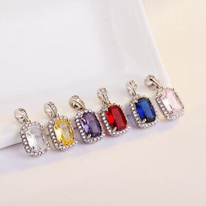 925 Silver Ruby/Sapphire/Citrine Princess Cut Pendant Necklace Women Wedding