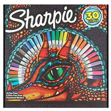 30 Sharpie Assorted Colours Permanent Markers Pens Drawing (Lizard Eye Box) NEW