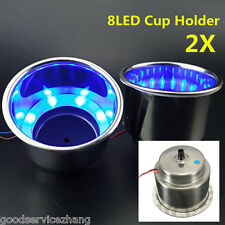 2pcs 8LED Blue Stainless Steel Cup Drink Holder Marine Boat Car Truck Camper Sea