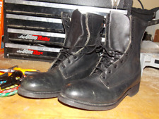90's Black Leather Military Boots by Addison Show Company Steel Toe Size 8 W