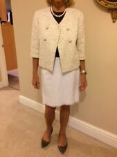Maxmara lined Cropped Jacket.Coffee and cream boucle fabric.Size 10 (38 europe)