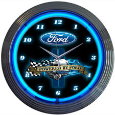 """""""POWERED BY FORD"""" Black & Chrome Wall Clock with Engine, Oval & Blue Neon Light"""